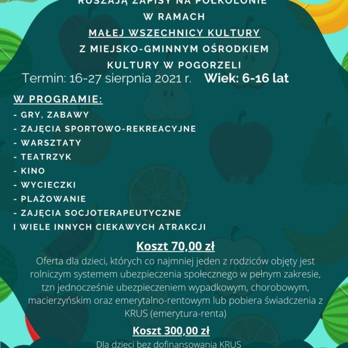 Półkolonie w ramach Małej Wszechnicy Kultury z Miejsko-Gminnym Ośrodkiem Kultury w Pogorzeli